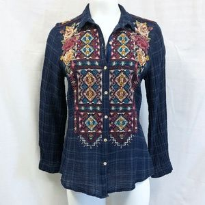 NWT Johnny Was Embroidered Button Back Plaid Shirt